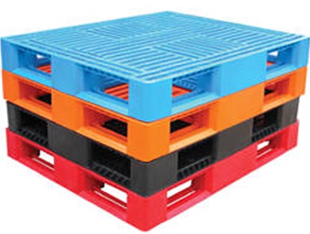 Stacked plastic pallet