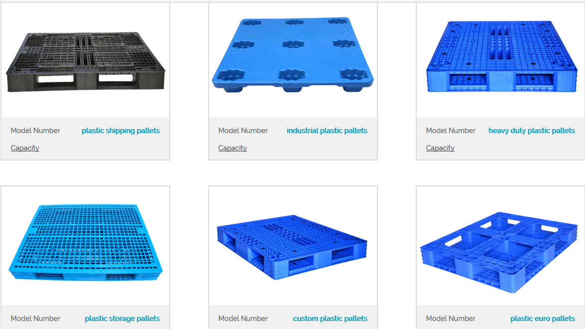 six different designs of HDPE plastic pallets